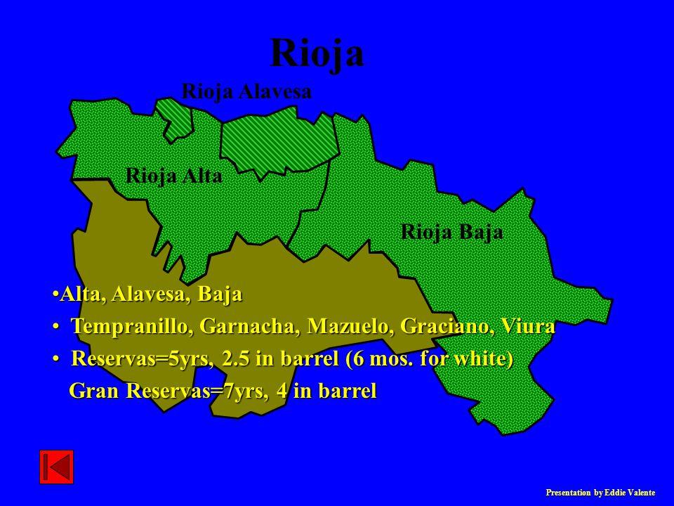 Presentation by Eddie Valente Rioja Baja Rioja Alta Rioja Alavesa Rioja Alta, Alavesa, BajaAlta, Alavesa, Baja Tempranillo, Garnacha, Mazuelo, Gracian