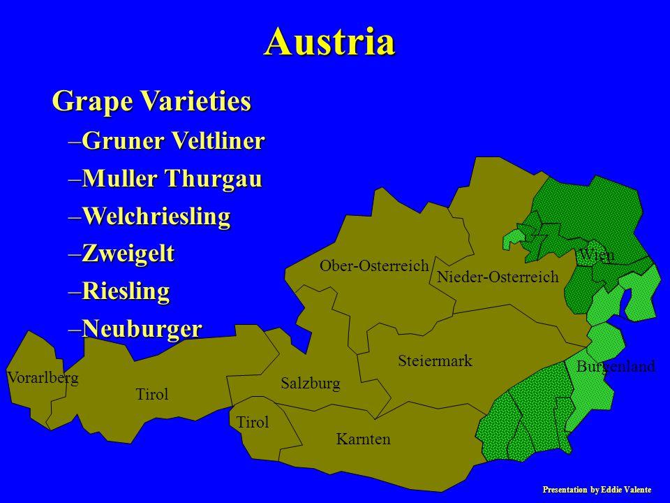 Presentation by Eddie Valente Austria Grape Varieties –Gruner Veltliner –Muller Thurgau –Welchriesling –Zweigelt –Riesling –Neuburger Vorarlberg Tirol