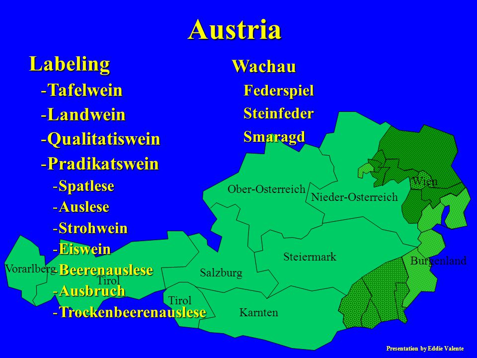 Presentation by Eddie Valente Austria Labeling -Tafelwein -Landwein -Qualitatiswein -Pradikatswein -Spatlese -Auslese -Strohwein -Eiswein -Beerenausle