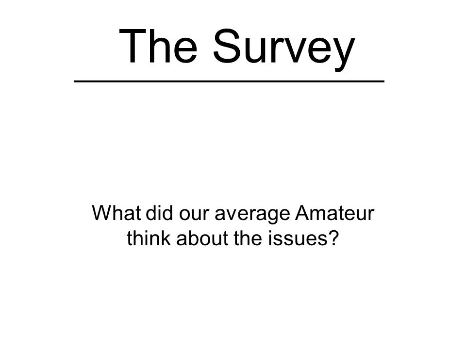 The Survey What did our average Amateur think about the issues?