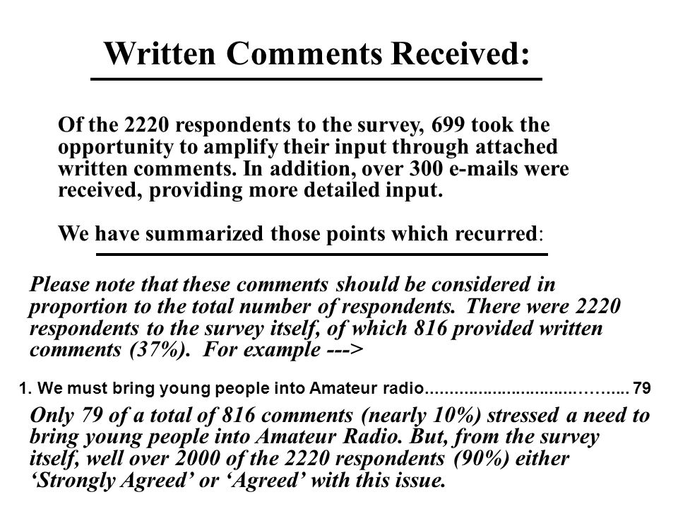 Of the 2220 respondents to the survey, 699 took the opportunity to amplify their input through attached written comments.