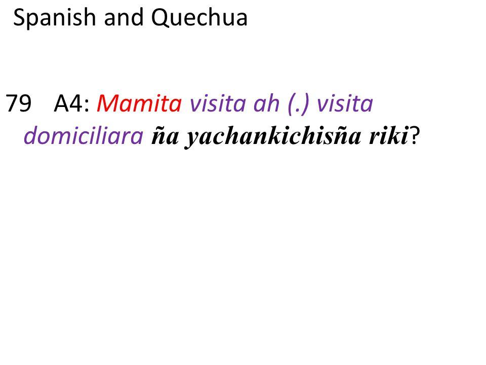 Spanish and Quechua 79A4: Mamita visita ah (.) visita domiciliara ña yachankichisña riki ?