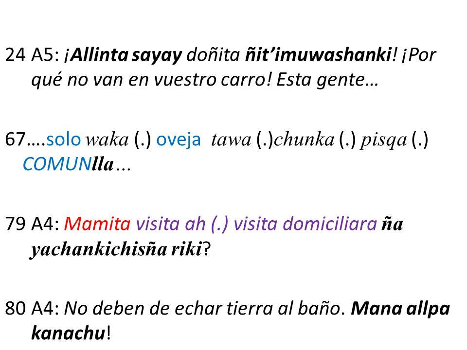 24A5: ¡Allinta sayay doñita ñit'imuwashanki! ¡Por qué no van en vuestro carro! Esta gente… 67….solo waka (.) oveja tawa (.) chunka (.) pisqa (.) COMUN