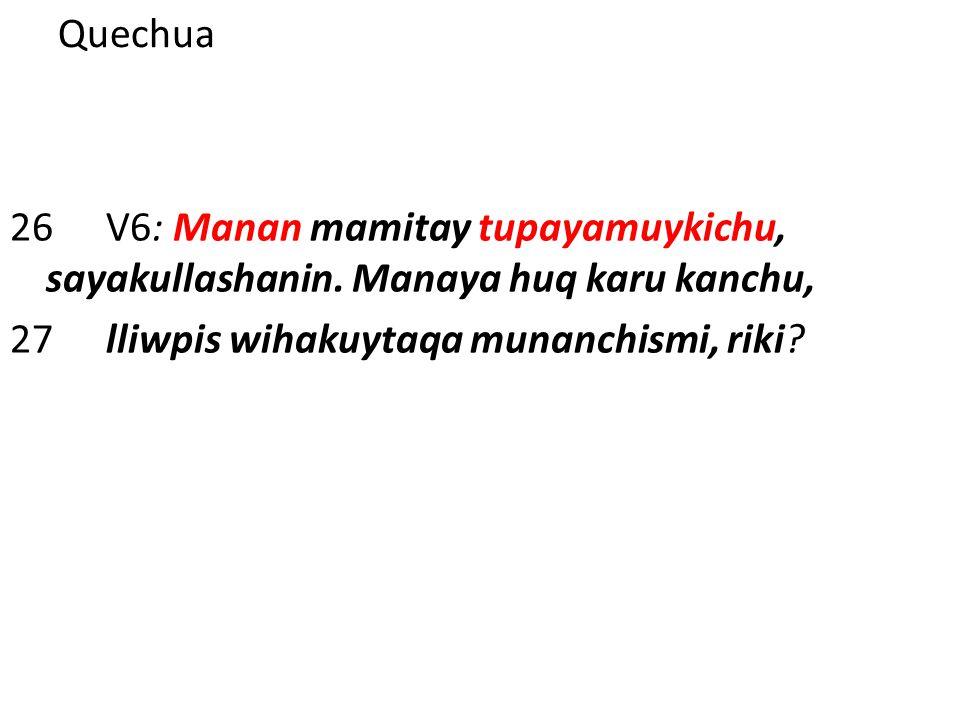 Quechua 26V6: Manan mamitay tupayamuykichu, sayakullashanin. Manaya huq karu kanchu, 27lliwpis wihakuytaqa munanchismi, riki?