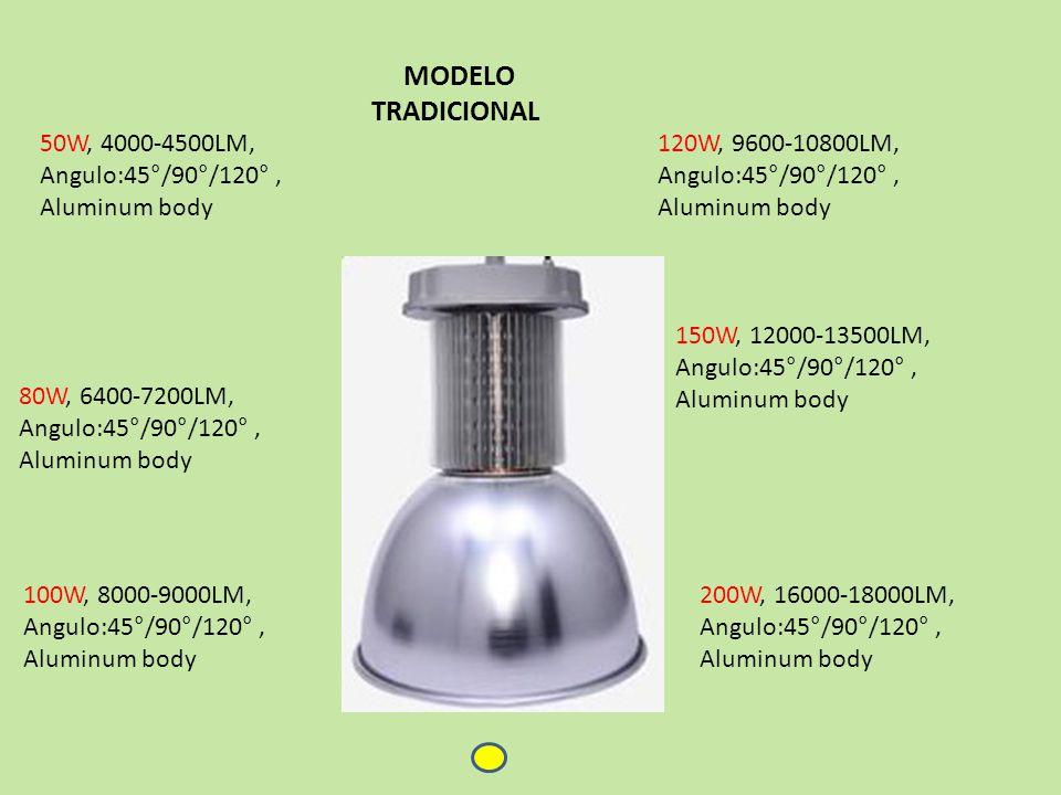 50W, 4000-4500LM, Angulo:45°/90°/120°, Aluminum body 100W, 8000-9000LM, Angulo:45°/90°/120°, Aluminum body 200W, 16000-18000LM, Angulo:45°/90°/120°, Aluminum body 80W, 6400-7200LM, Angulo:45°/90°/120°, Aluminum body 150W, 12000-13500LM, Angulo:45°/90°/120°, Aluminum body 120W, 9600-10800LM, Angulo:45°/90°/120°, Aluminum body MODELO TRADICIONAL