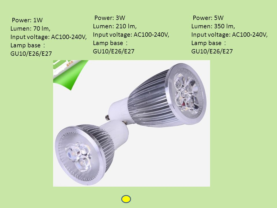 Power: 1W Lumen: 70 lm, Input voltage: AC100-240V, Lamp base : GU10/E26/E27 Power: 3W Lumen: 210 lm, Input voltage: AC100-240V, Lamp base : GU10/E26/E27 Power: 5W Lumen: 350 lm, Input voltage: AC100-240V, Lamp base : GU10/E26/E27