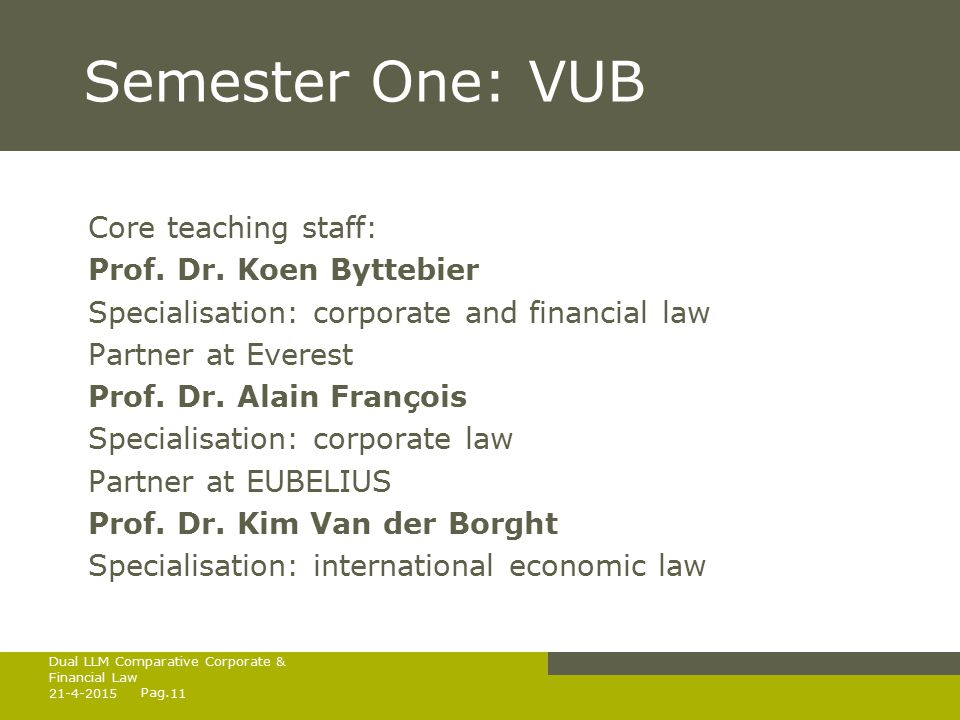Pag. Semester One: VUB Core teaching staff: Prof.