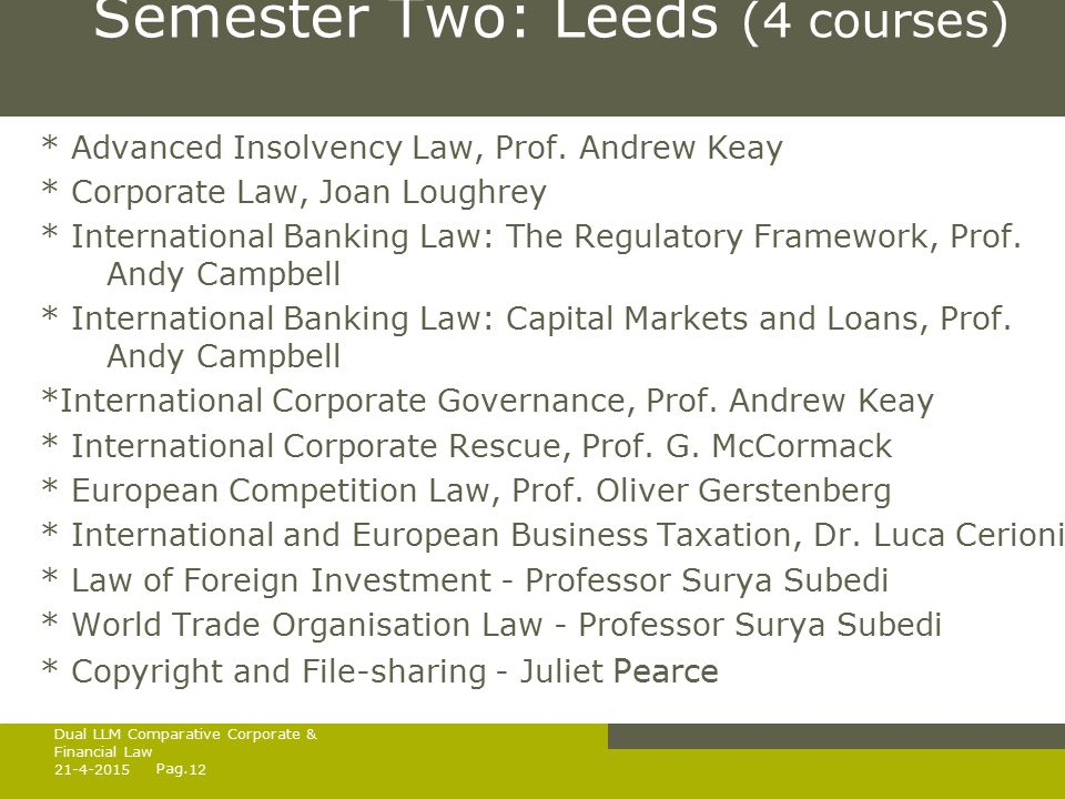 Pag. Semester Two: Leeds (4 courses) * Advanced Insolvency Law, Prof.