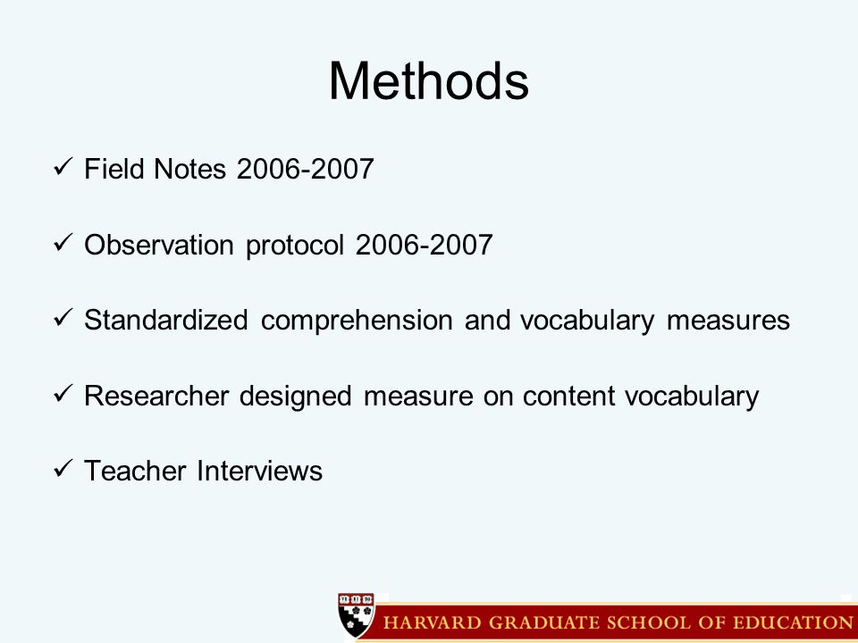 Methods Field Notes 2006-2007 Observation protocol 2006-2007 Standardized comprehension and vocabulary measures Researcher designed measure on content vocabulary Teacher Interviews