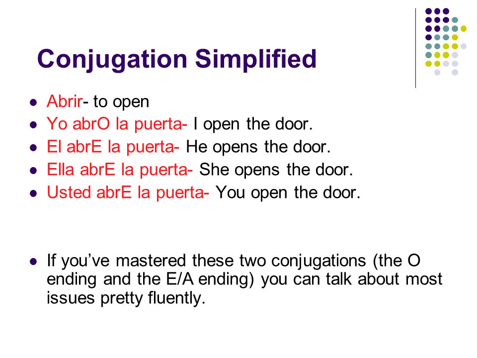 Conjugation Simplified Abrir- to open Yo abrO la puerta- I open the door.