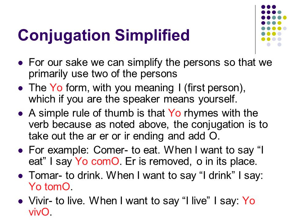 Conjugation Continued (irregular) Ser- to be (permenantly).