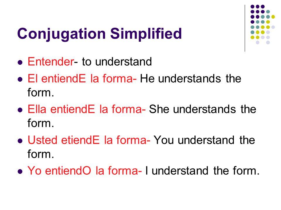 Conjugation Simplified Abrir- to open Yo abrO la puerta- I open the door.