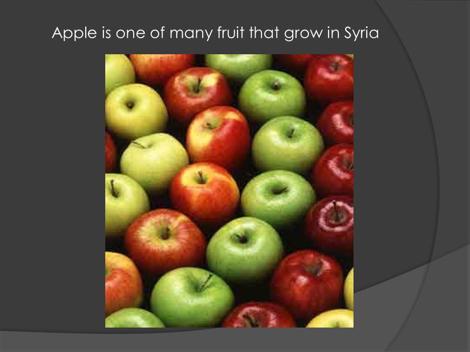 Apple is one of many fruit that grow in Syria