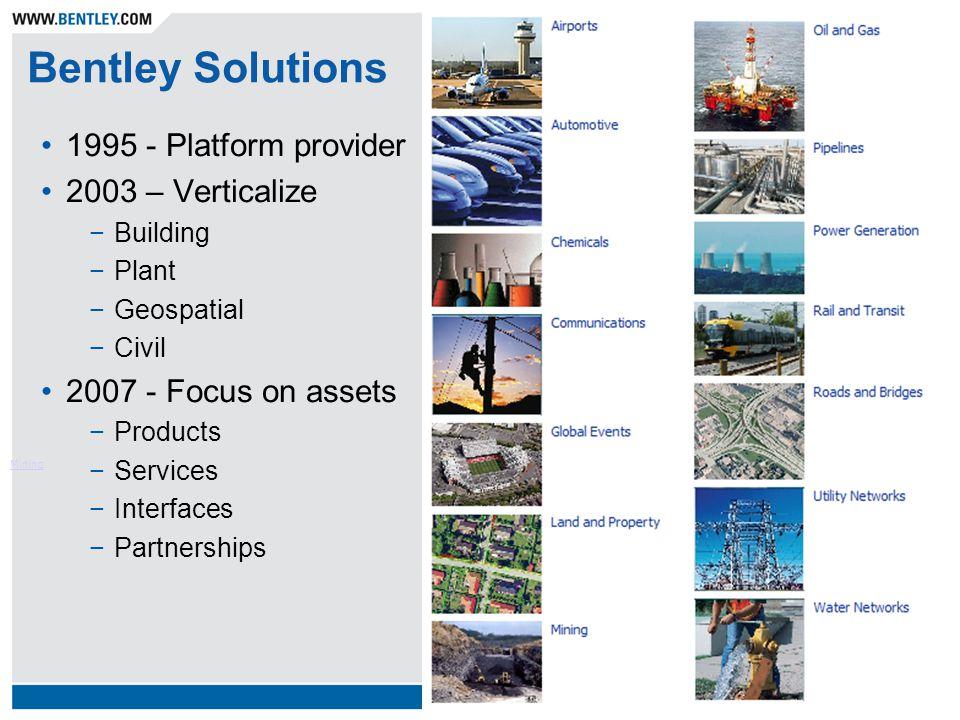Bentley Solutions Mining 1995 - Platform provider 2003 – Verticalize −Building −Plant −Geospatial −Civil 2007 - Focus on assets −Products −Services −Interfaces −Partnerships