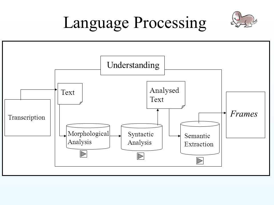 Language Processing Transcription Text Morphological Analysis Syntactic Analysis Analysed Text Semantic Extraction Frames Understanding