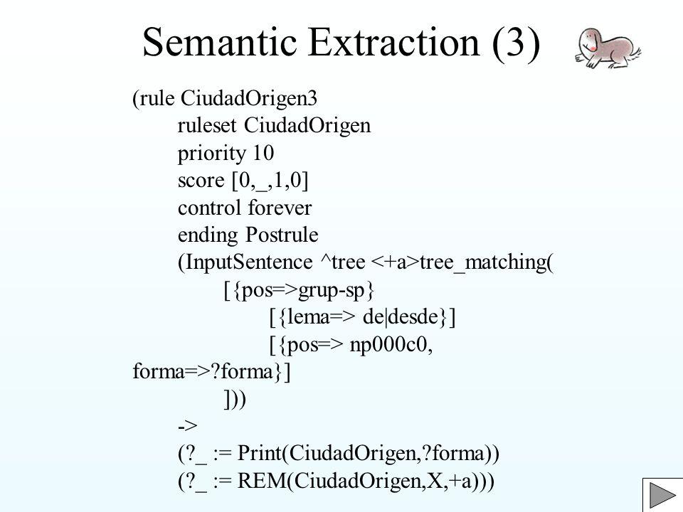 Semantic Extraction (3) (rule CiudadOrigen3 ruleset CiudadOrigen priority 10 score [0,_,1,0] control forever ending Postrule (InputSentence ^tree tree_matching( [{pos=>grup-sp} [{lema=> de|desde}] [{pos=> np000c0, forma=> forma}] ])) -> ( _ := Print(CiudadOrigen, forma)) ( _ := REM(CiudadOrigen,X,+a)))
