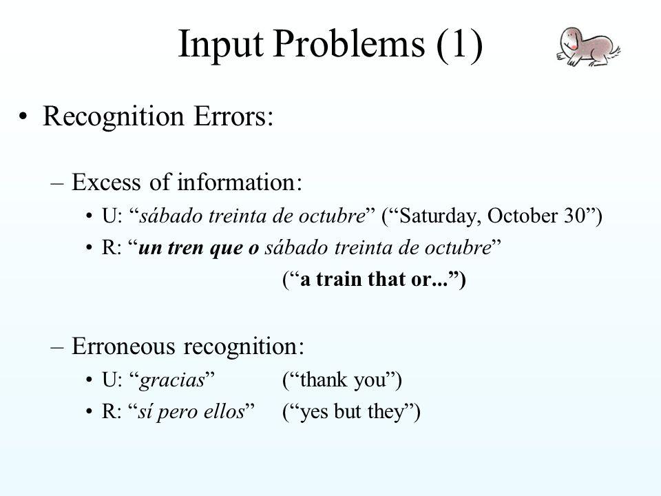 Input Problems (2) –Grammar errors: Lack of prep+det contractions: de el  del Wrong use of indefinite determiner: un de octubre  uno de octubre ( 1 October ) Wrong orthographical transcriptions: qué/que, a/ha ,...