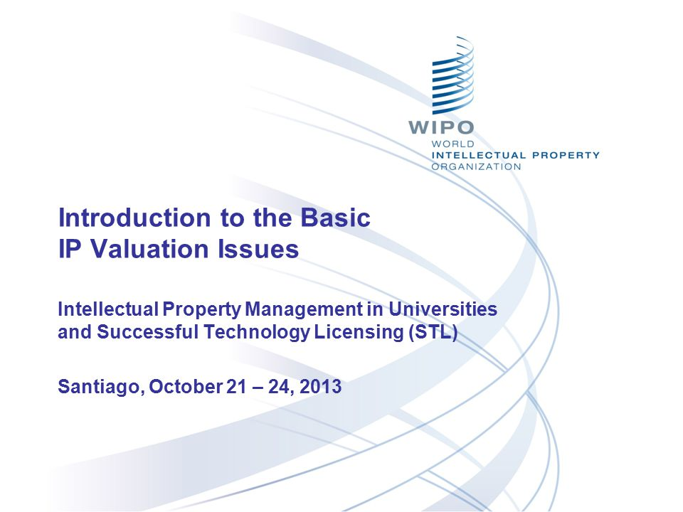 Introduction to the Basic IP Valuation Issues Intellectual Property Management in Universities and Successful Technology Licensing (STL) Santiago, Oct