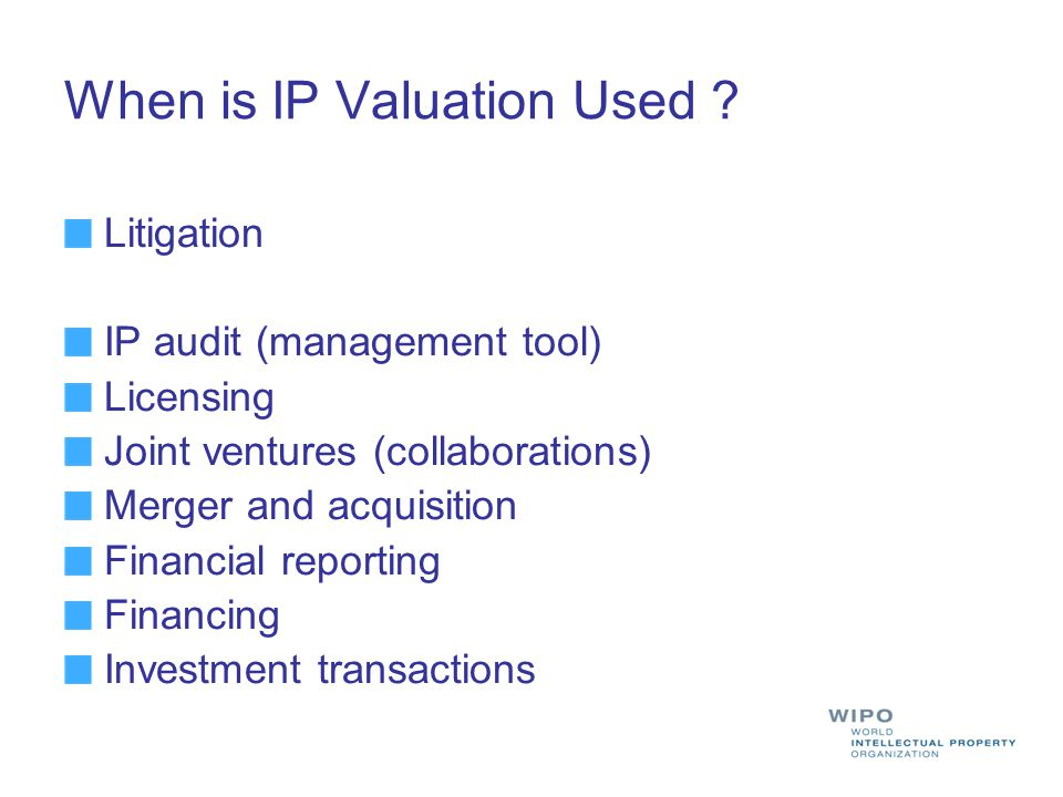 Qualitative Valuation The qualitative study is used to formulate (and justify) assumptions on which the financial models, used to determine a numerical value to the IP under consideration, will be based.