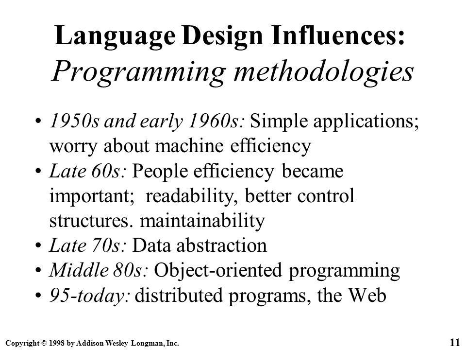 Copyright © 1998 by Addison Wesley Longman, Inc. 11 Language Design Influences: Programming methodologies 1950s and early 1960s: Simple applications;