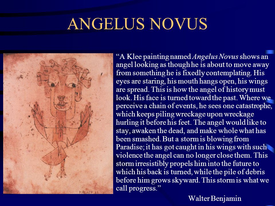ANGELUS NOVUS A Klee painting named Angelus Novus shows an angel looking as though he is about to move away from something he is fixedly contemplating.