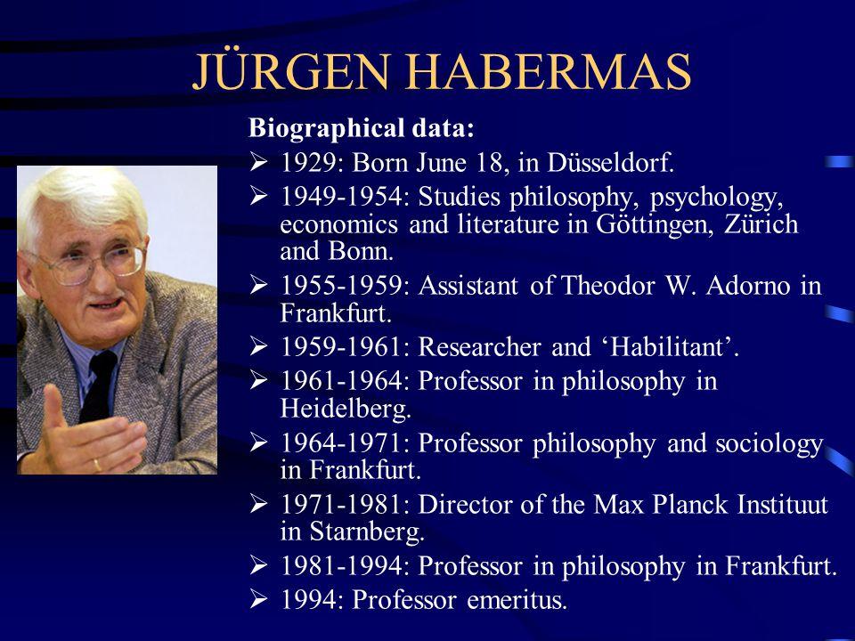 JÜRGEN HABERMAS Biographical data:  1929: Born June 18, in Düsseldorf.  1949-1954: Studies philosophy, psychology, economics and literature in Götti