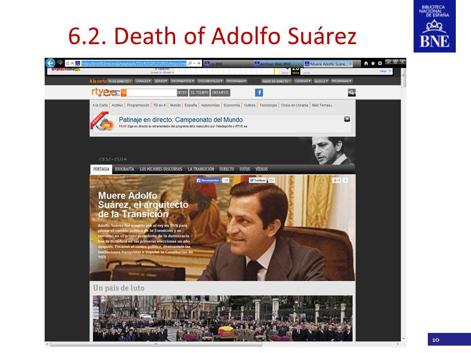 Título de la presentación 10 6.2. Death of Adolfo Suárez