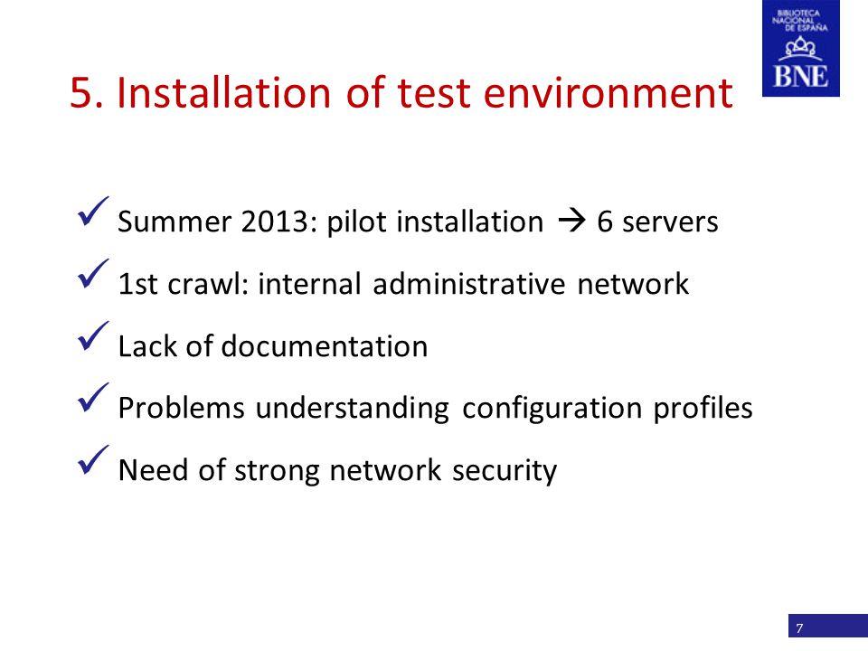 Título de la presentación 5. Installation of test environment Summer 2013: pilot installation  6 servers 1st crawl: internal administrative network L