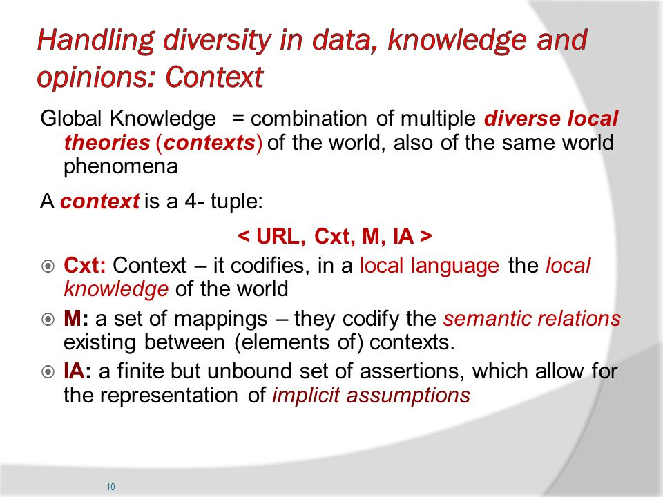 10 Global Knowledge = combination of multiple diverse local theories (contexts) of the world, also of the same world phenomena A context is a 4- tuple