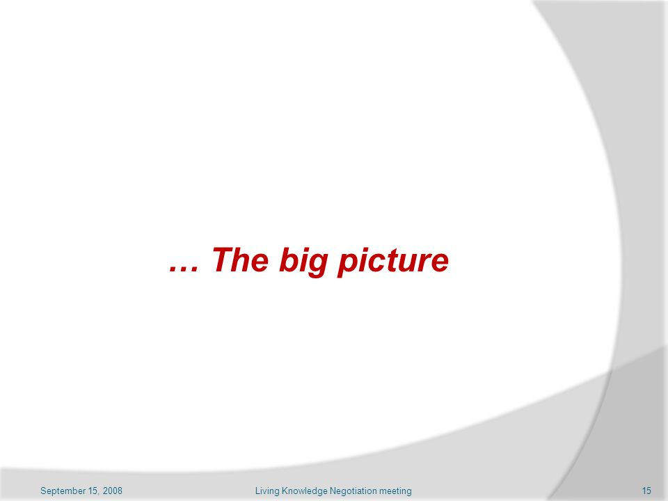 … The big picture September 15, 2008Living Knowledge Negotiation meeting15