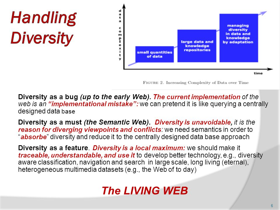 """Diversity as a bug (up to the early Web). The current implementation of the web is an """"implementational mistake"""": we can pretend it is like querying a"""