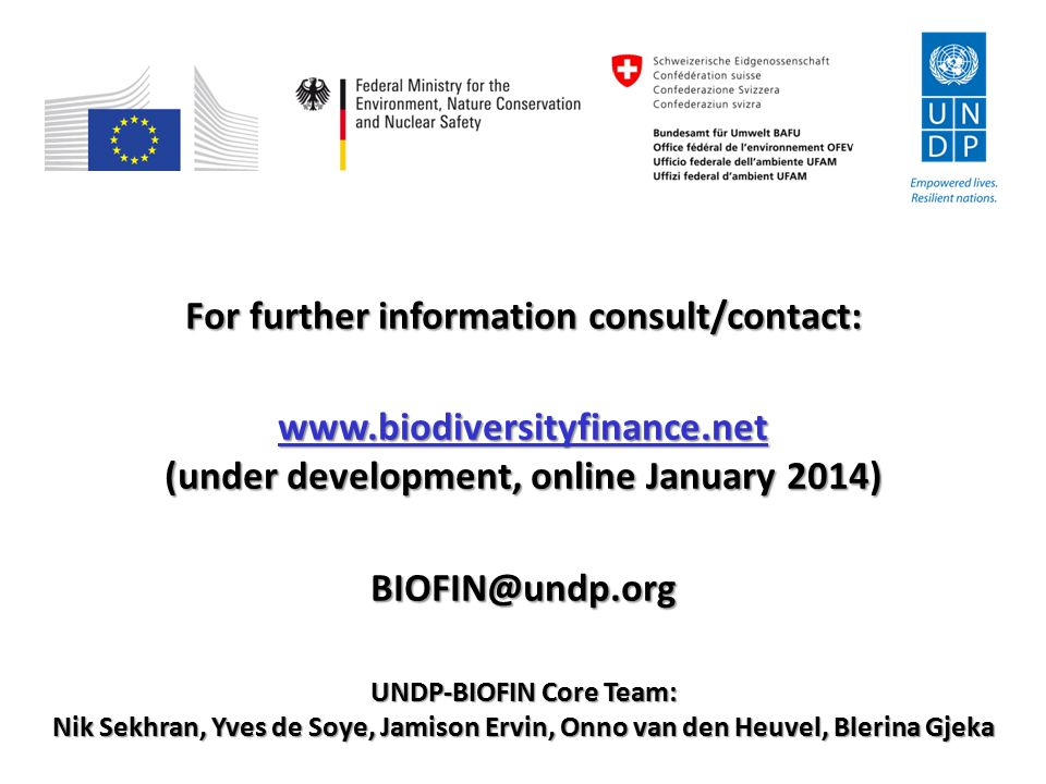 For further information consult/contact: www.biodiversityfinance.net (under development, online January 2014) BIOFIN@undp.org UNDP-BIOFIN Core Team: N