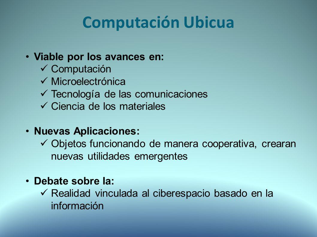 Computación Ubicua Viable por los avances en: Computación Microelectrónica Tecnología de las comunicaciones Ciencia de los materiales Nuevas Aplicaciones: Objetos funcionando de manera cooperativa, crearan nuevas utilidades emergentes Debate sobre la: Realidad vinculada al ciberespacio basado en la información