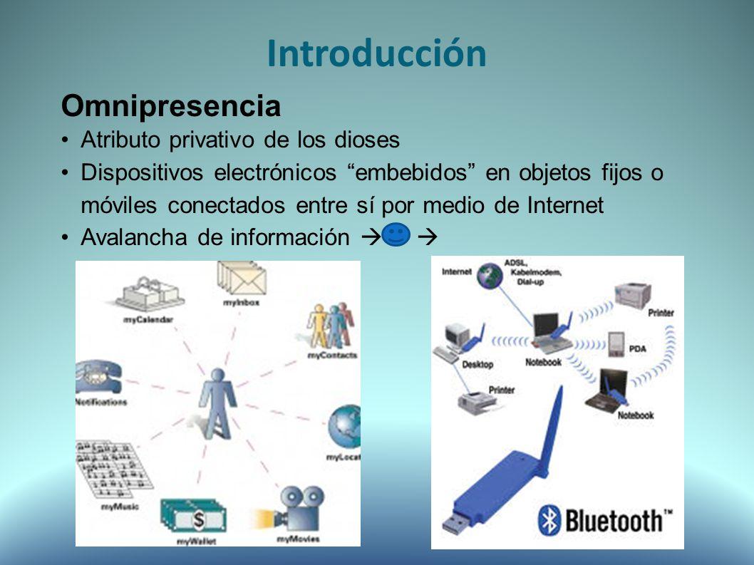 Tendencias Proliferación de microprocesadores equipados con sensores y con capacidad inalámbrica (Pervasivo) Detección del entorno que rodea a los objetos con capacidades de procesamiento de información y de comunicaciones.