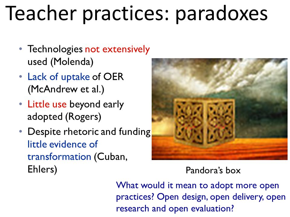 Technologies not extensively used (Molenda) Lack of uptake of OER (McAndrew et al.) Little use beyond early adopted (Rogers) Despite rhetoric and funding little evidence of transformation (Cuban, Ehlers) Pandora's box What would it mean to adopt more open practices.