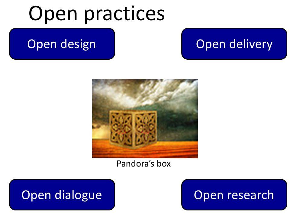 11 Pandora's box Open designOpen delivery Open dialogueOpen research Open practices