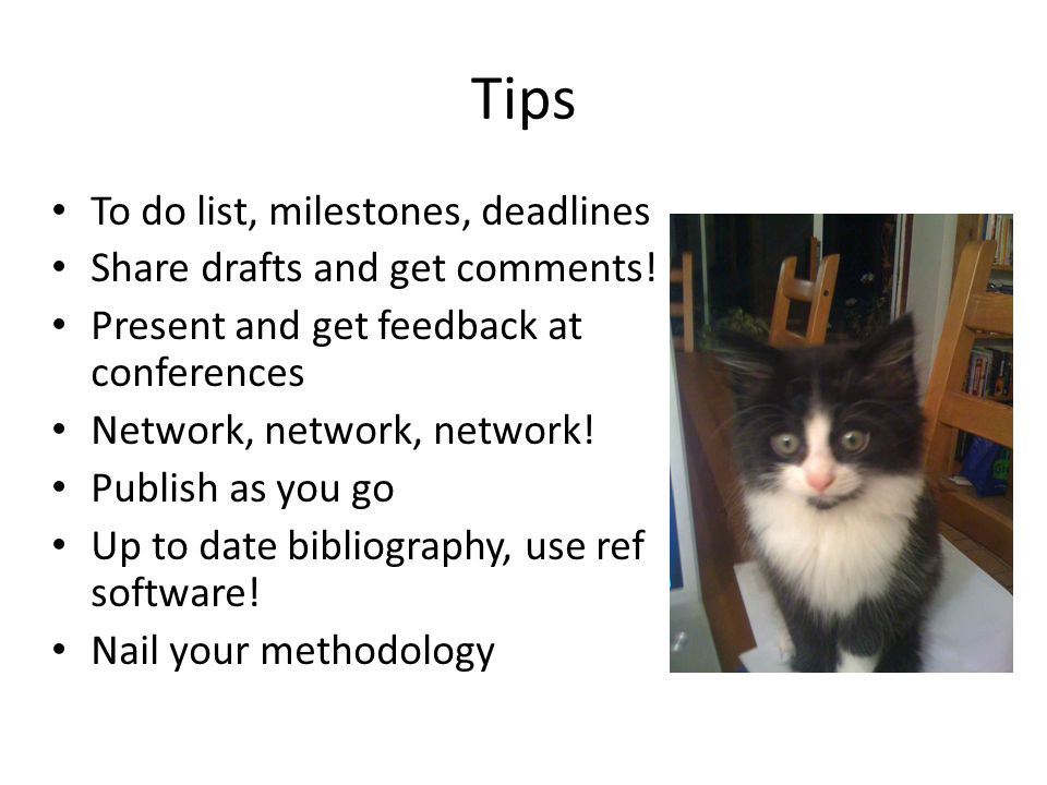 Tips To do list, milestones, deadlines Share drafts and get comments.