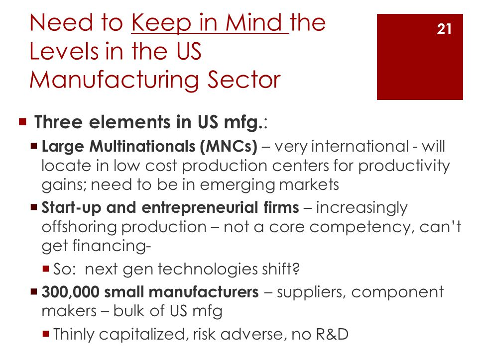 Need to Keep in Mind the Levels in the US Manufacturing Sector  Three elements in US mfg.