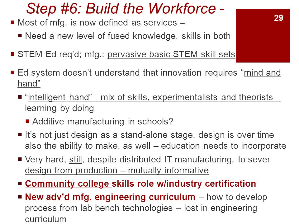 Step #6: Build the Workforce -  Most of mfg.