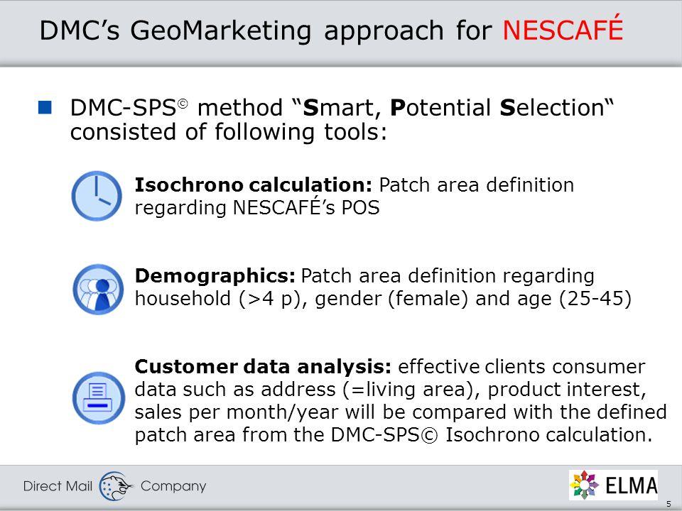 6 DMC-SPS© Patch area definition for NESCAFÉ Patch area: Total 0.3 Mio.
