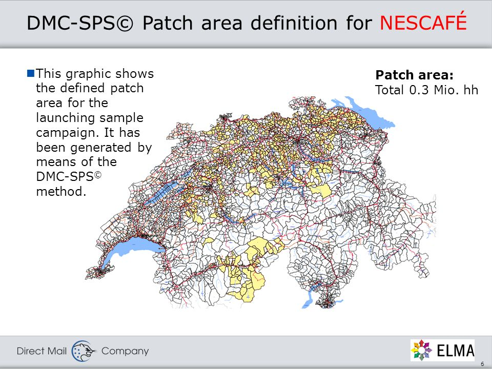 6 DMC-SPS© Patch area definition for NESCAFÉ Patch area: Total 0.3 Mio.