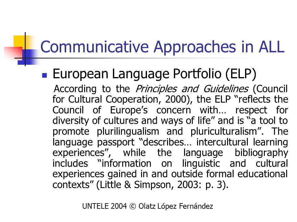 Application of DP to LLA Application of ELP to Forum: UNTELE 2004 © Olatz López Fernández