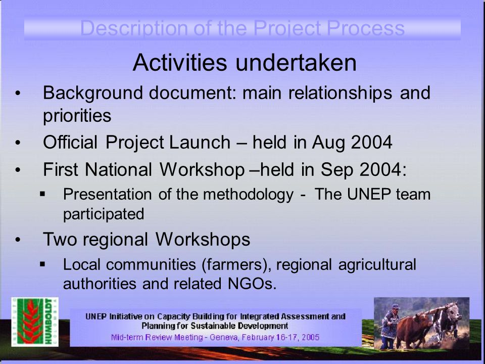 Description of the Project Process Activities undertaken Background document: main relationships and priorities Official Project Launch – held in Aug