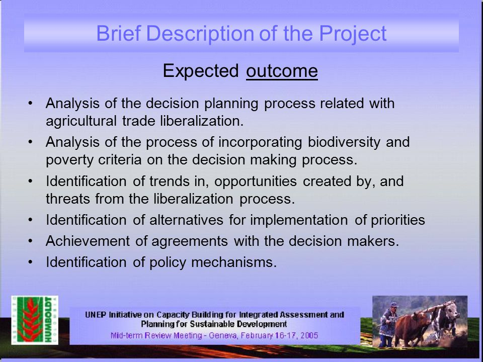 Brief Description of the Project Expected outcome Analysis of the decision planning process related with agricultural trade liberalization.