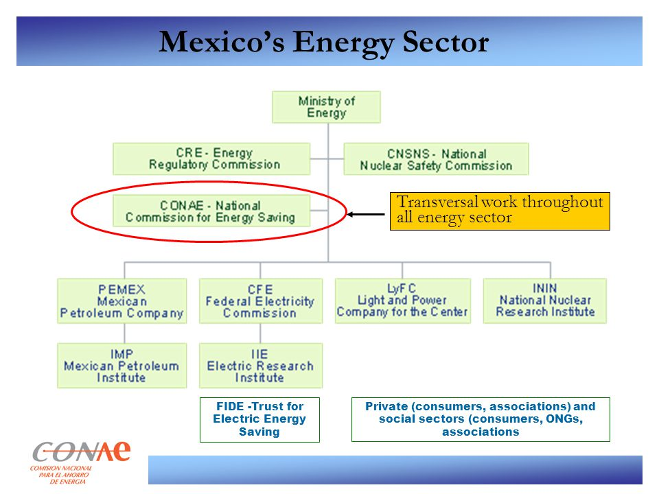 Mexico's Energy Sector FIDE -Trust for Electric Energy Saving Transversal work throughout all energy sector Private (consumers, associations) and soci
