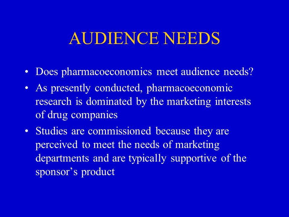 AUDIENCE NEEDS Does pharmacoeconomics meet audience needs.
