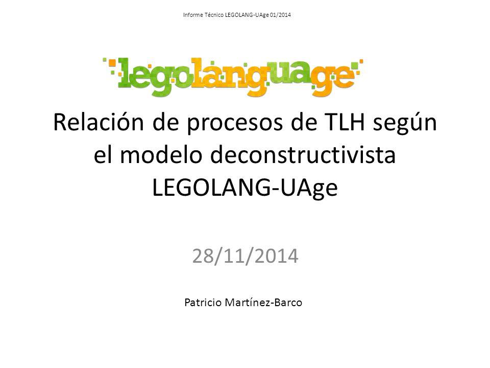 Relación de procesos de TLH según el modelo deconstructivista LEGOLANG-UAge 28/11/2014 Patricio Martínez-Barco Informe Técnico LEGOLANG-UAge 01/2014