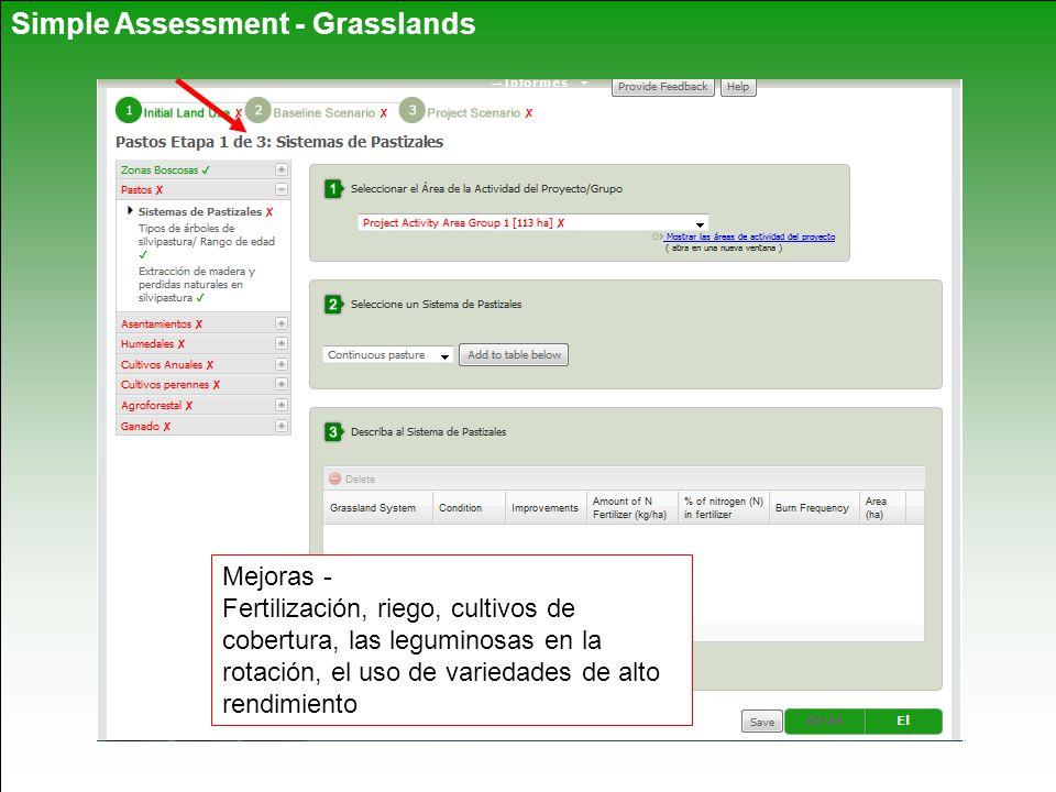 Simple Assessment - Grasslands Mejoras - Fertilización, riego, cultivos de cobertura, las leguminosas en la rotación, el uso de variedades de alto rendimiento
