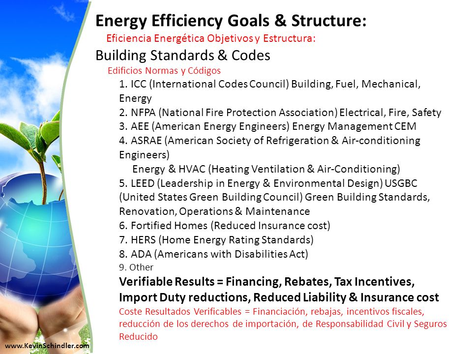 Energy Efficiency Goals & Structure: Eficiencia Energética Objetivos y Estructura: Building Standards & Codes Edificios Normas y Códigos 1.