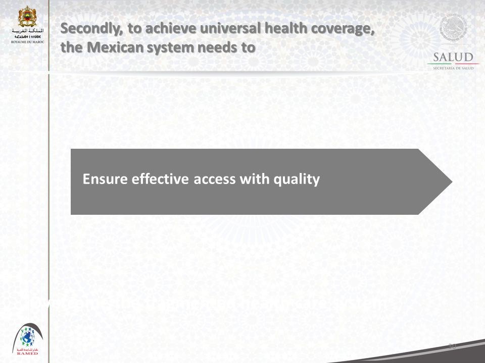 30 Secondly, to achieve universal health coverage, the Mexican system needs to Overcome the fragmented health care system Ensure effective access with quality